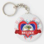 Vintage I Love Belise Basic Round Button Key Ring