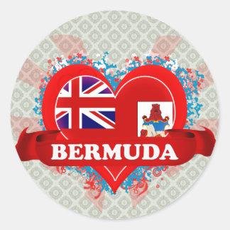 Vintage I Love Bermuda Classic Round Sticker