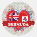 Vintage I Love Bermuda Round Sticker