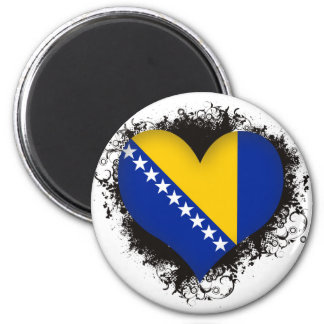 Vintage I Love Bosnia and Herzegovina 6 Cm Round Magnet