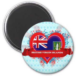 Vintage I Love British Virgin Islands 6 Cm Round Magnet