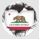 Vintage I Love California Round Stickers