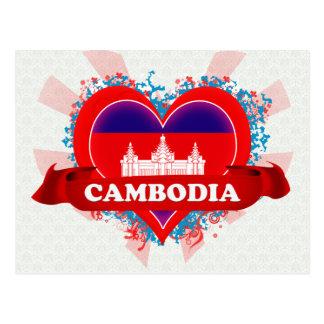 Vintage I Love Cambodia Postcard
