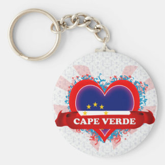 Vintage I Love Cape Verde Basic Round Button Key Ring