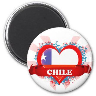 Vintage I Love Chile 6 Cm Round Magnet