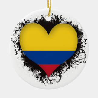 Vintage I Love Colombia Christmas Ornament