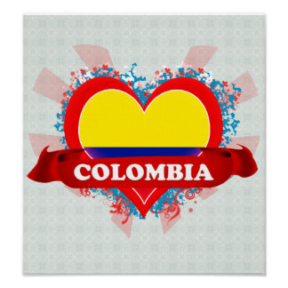 Vintage I Love Colombia Poster