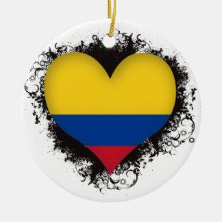 Vintage I Love Colombia Round Ceramic Decoration