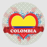 Vintage I Love Colombia Round Stickers