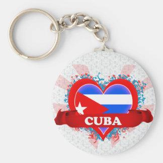 Vintage I Love Cuba Basic Round Button Key Ring