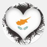 Vintage I Love Cyprus Round Stickers