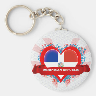 Vintage I Love Dominican Republic Basic Round Button Key Ring