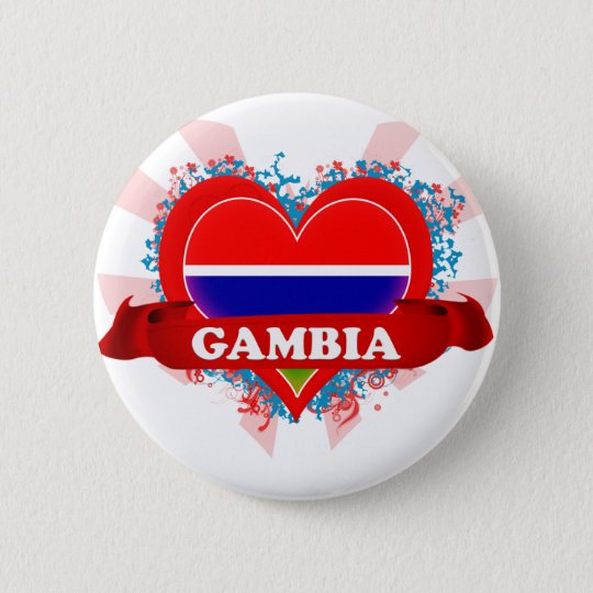 Vintage I Love Gambia 6 Cm Round Badge