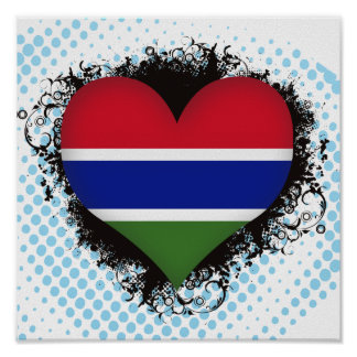 Vintage I Love Gambia Poster