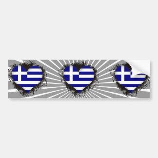 Vintage I Love Greece Bumper Sticker