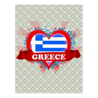 Vintage I Love Greece Postcard