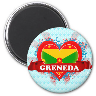 Vintage I Love Greneda 6 Cm Round Magnet