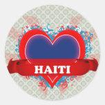 Vintage I Love Haiti Round Stickers