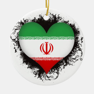 Vintage I Love Iran Christmas Ornament