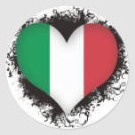 Vintage I Love Italy Round Stickers