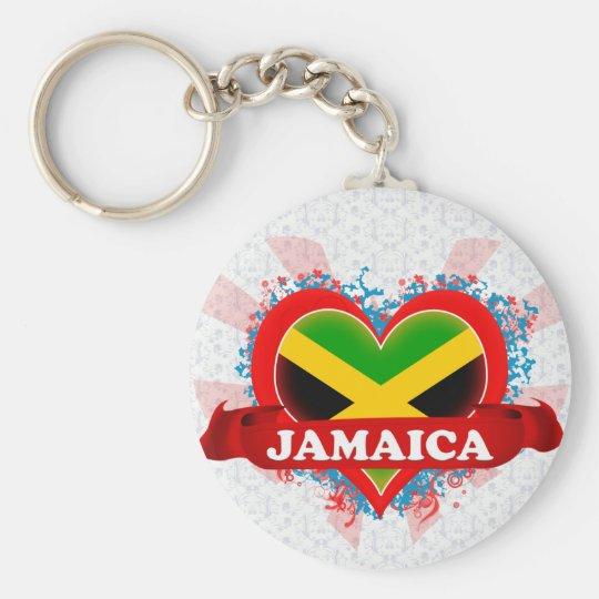 Vintage I Love Jamaica Basic Round Button Key Ring