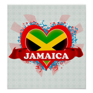 Vintage I Love Jamaica Poster