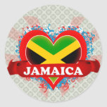 Vintage I Love Jamaica Round Sticker