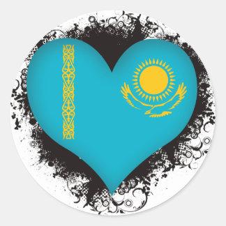 Vintage I Love Kazakhstan Classic Round Sticker