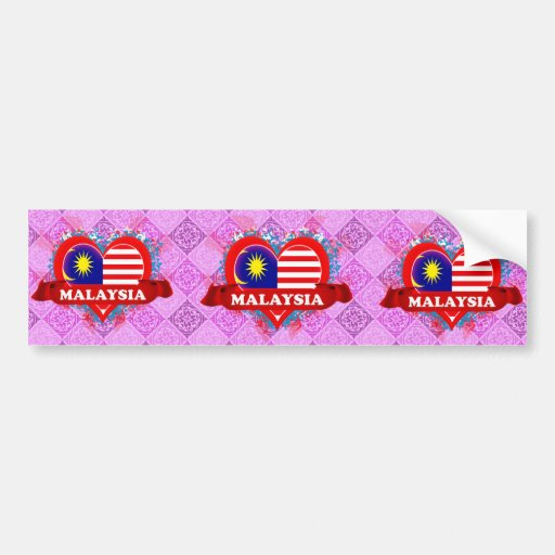 Vintage I Love Malaysia Bumper Stickers
