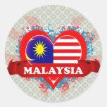 Vintage I Love Malaysia Round Sticker