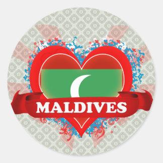 Vintage I Love Maldives Classic Round Sticker