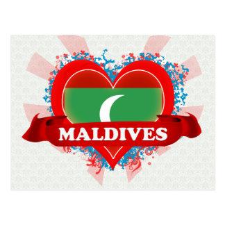 Vintage I Love Maldives Post Cards