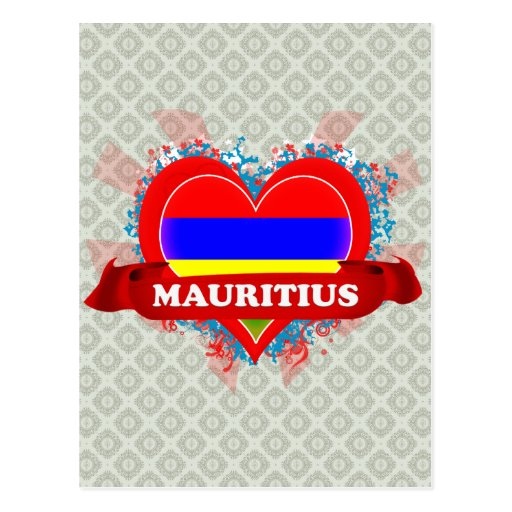 Vintage I Love Mauritius Post Card