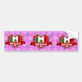 Vintage I Love Mexico Bumper Sticker