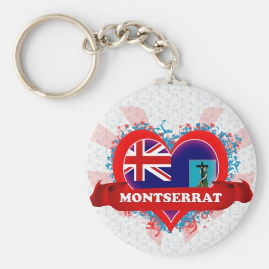 Vintage I Love Montserrat Basic Round Button Key Ring
