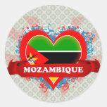 Vintage I Love Mozambique Round Sticker