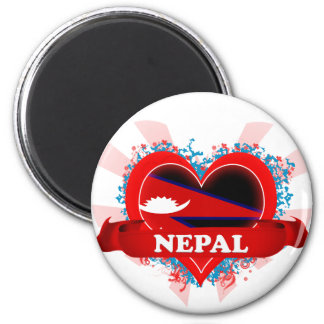 Vintage I Love Nepal 6 Cm Round Magnet