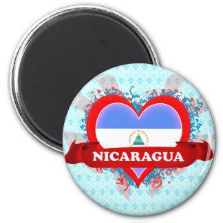 Vintage I Love Nicaragua 6 Cm Round Magnet
