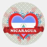 Vintage I Love Nicaragua Round Sticker