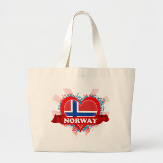 Vintage I Love Norway Large Tote Bag