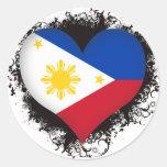 Vintage I Love Philippines Round Stickers