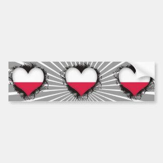 Vintage I Love Poland Bumper Sticker