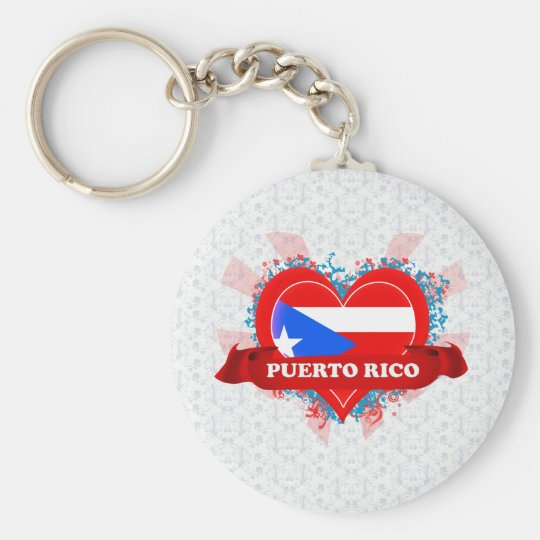 Vintage I Love Puerto Rico Basic Round Button Key Ring
