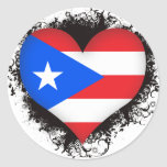 Vintage I Love Puerto Rico Round Stickers