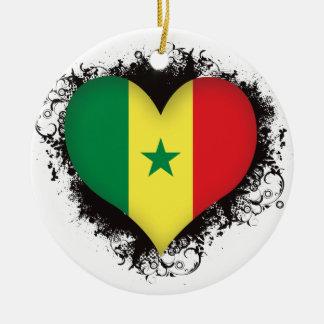 Vintage I Love Senegal Round Ceramic Decoration