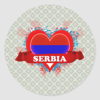 Vintage I Love Serbia Classic Round Sticker