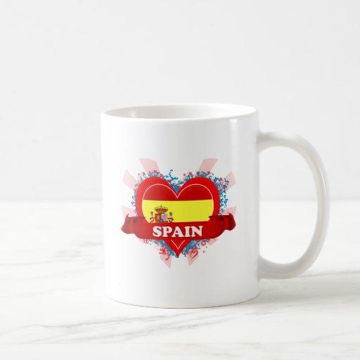 Vintage I Love Spain Basic White Mug
