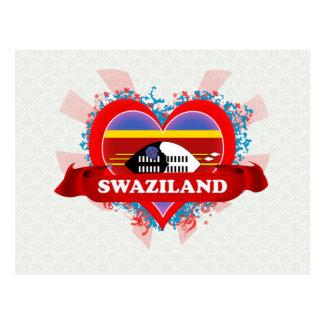 Vintage I Love Swaziland Postcard