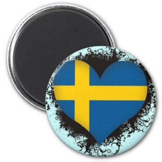 Vintage I Love Sweden 6 Cm Round Magnet