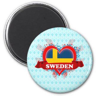 Vintage I Love Sweden Magnet